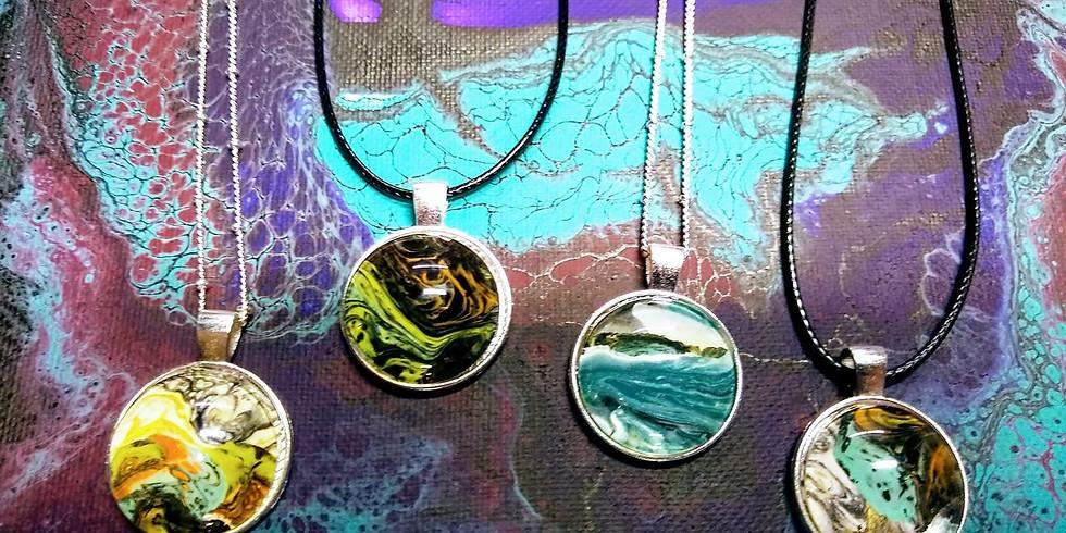 DIY Fluid Art - Acrylic Pour Jewelry Pendant Workshop