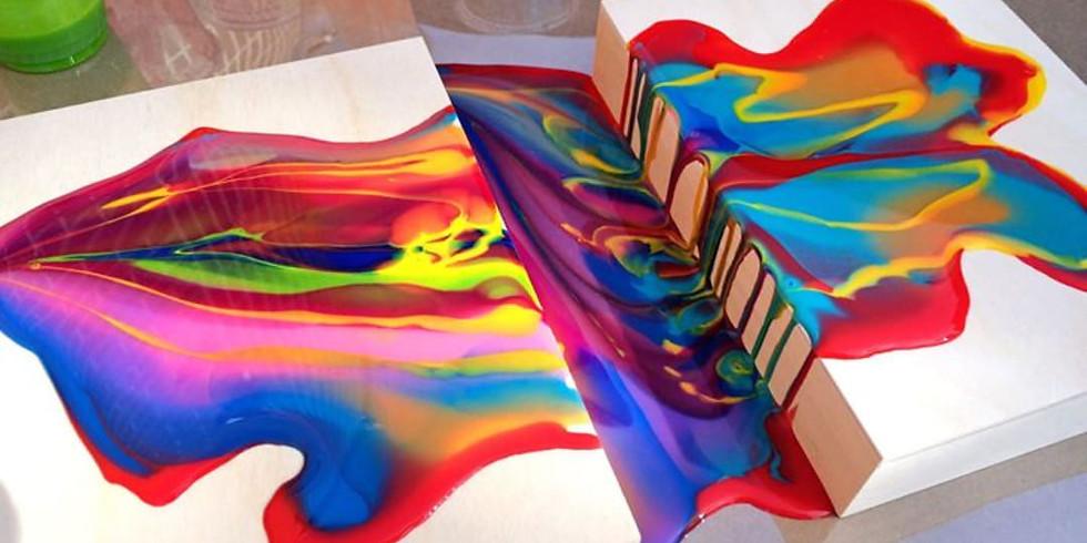 DIY Fluid Art - Acrylic Swipe Technique Canvas Workshop