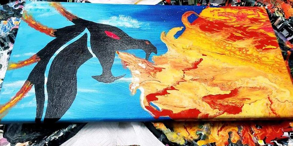 Dragon Fire Acrylic Pour & Swipe Workshop
