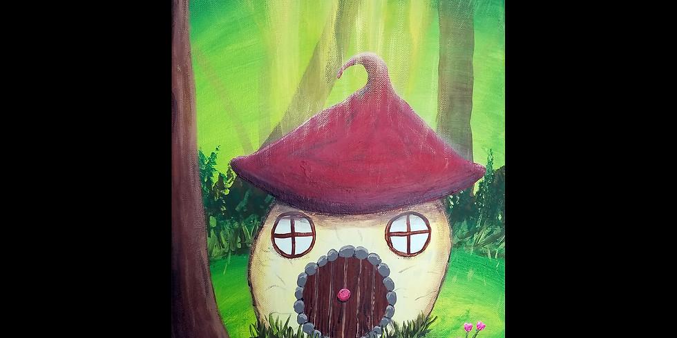 Enchanted Mushroom Cottage Canvas Workshop