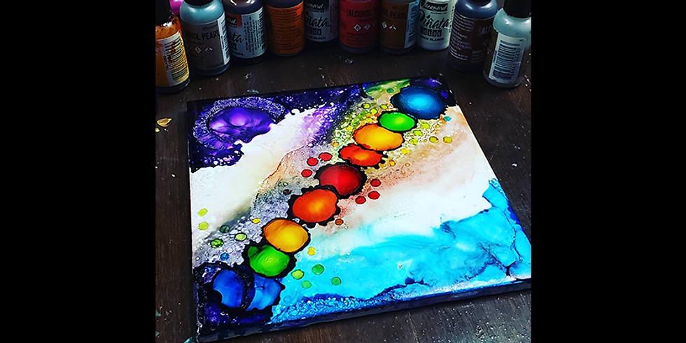 Alcohol Ink & Flame Tile LIVE ONLINE Workshop