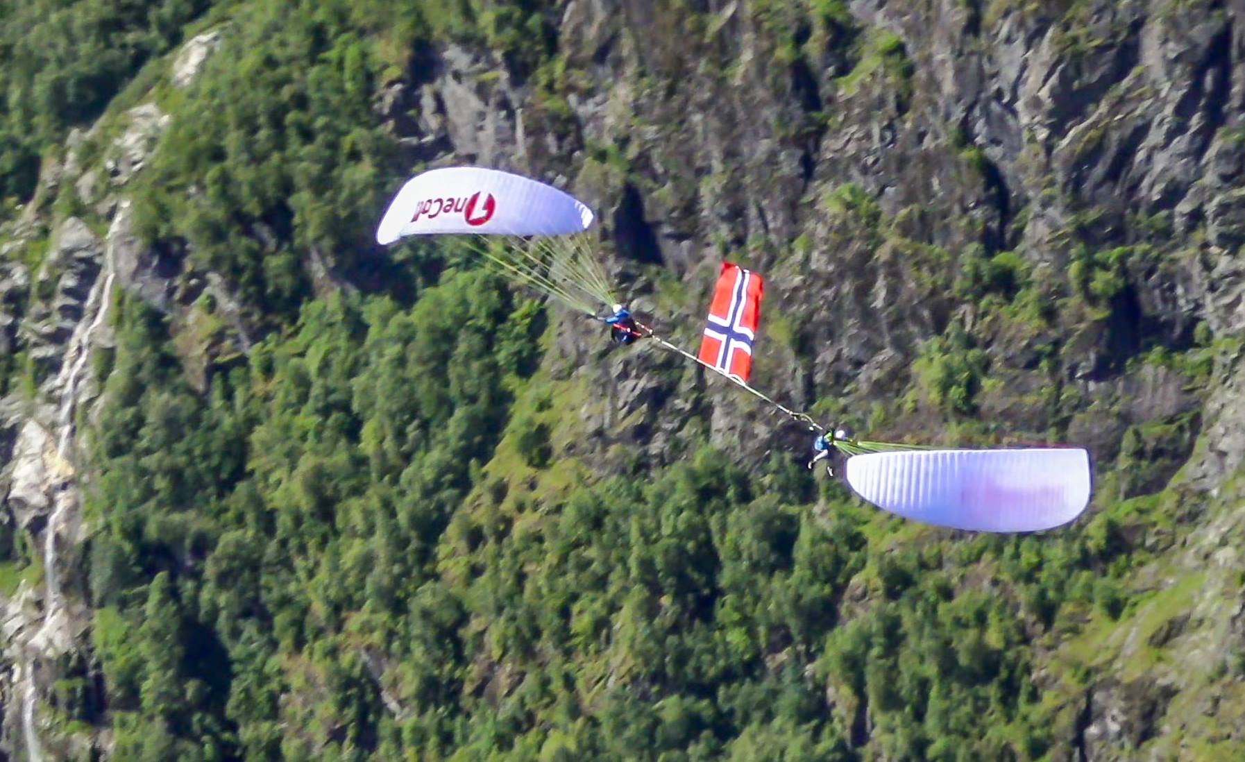 Norvegian flag on paragliding downplane