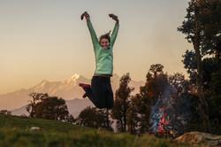 Loraine Humeau coucher de soleil feu bivouac The Himalayan Paragliding Line (1 of 1)