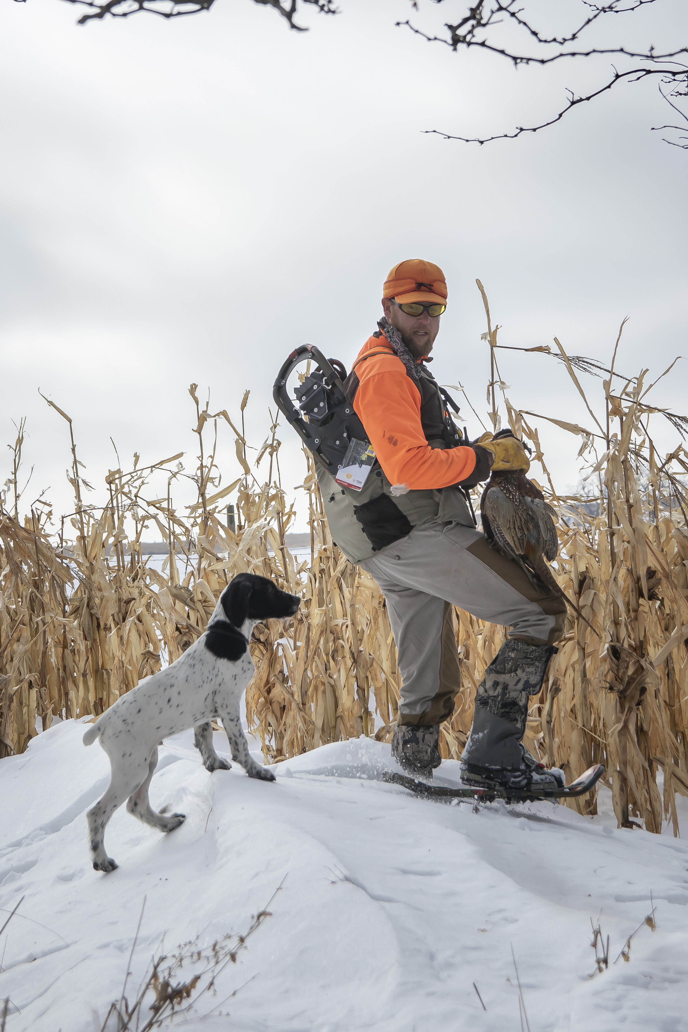 hunting in snowshoes