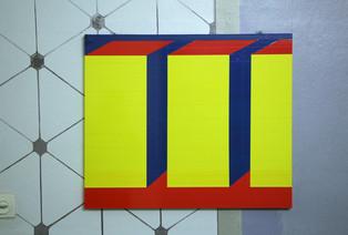 """""""3 gelbe Blöcke"""", Detailansicht, 2019"""