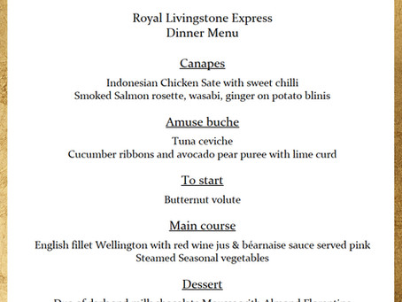 The Royal Livingstone Express has a new menu