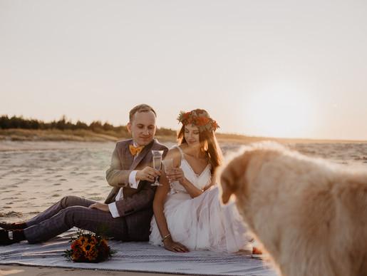 Sesja ślubna z psem | Sesja nad morzem | Wyspa Sobieszewska