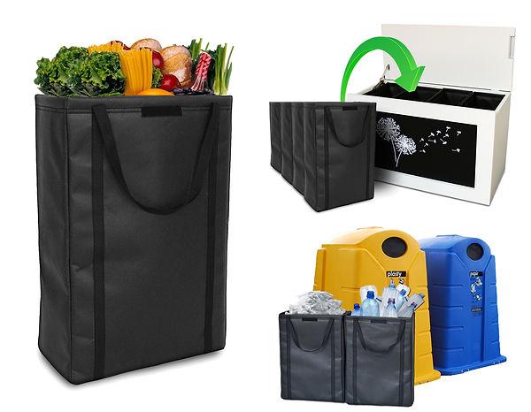vak na prádlo, odpad, hračky, nákup