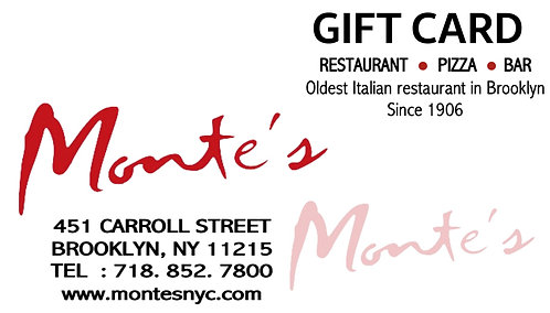 Monte's Gift Card (Physical)