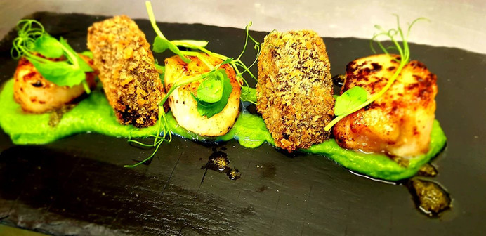 Scallops, black pudding