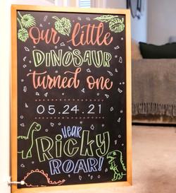 First Birthday Dinosaur Theme Chalk Art