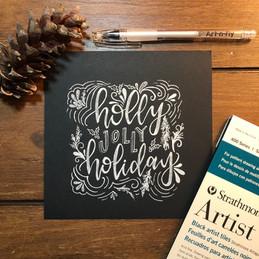 Holly Jolly Holiday White Ink Art.jpg