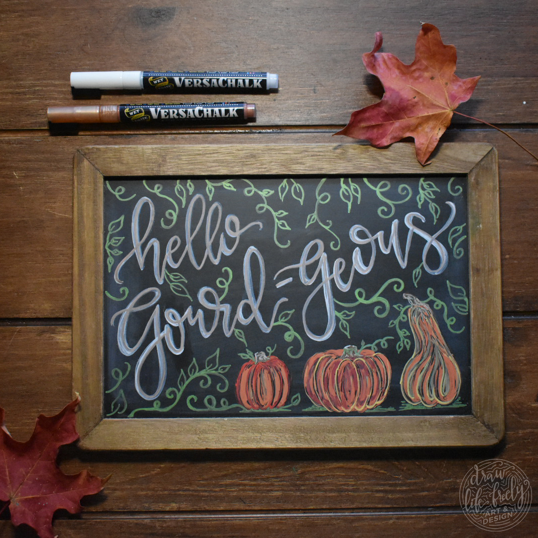 Hello Gourdgeous Chalk Art