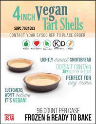 Vegan Tart Shell PastryStar Sysco Flyer.