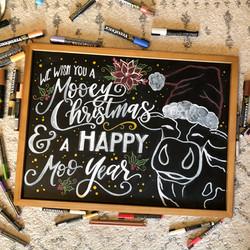 Merry Xmas Cow Chalk Art