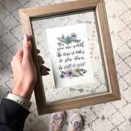 Slow Down Rest Florals Lettering