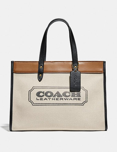 Canvas field tote 30 with Coach Badge