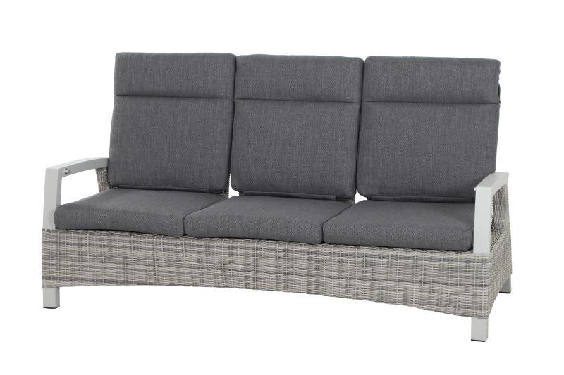 CORIDO Alu+Flecht Sofa 3-sitzer HL verstellbar  ice grey