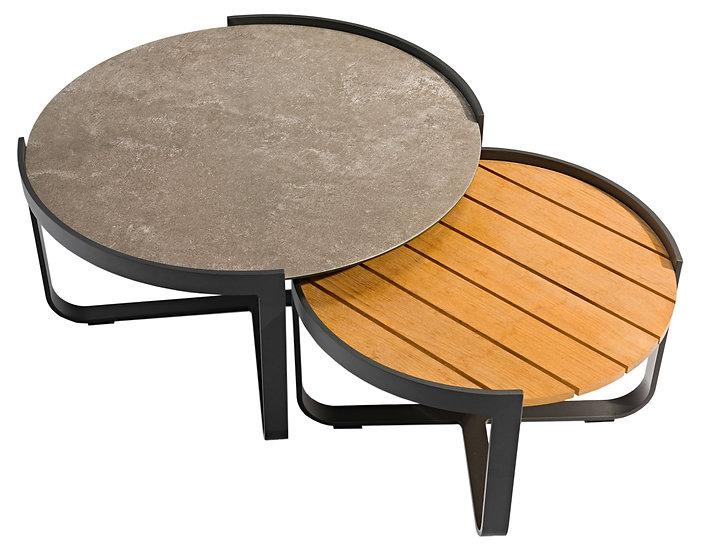 Zebra  FLY-LOUNGE  Alu-Keramik-Teak Tisch-Set 2er rund 80/60cm