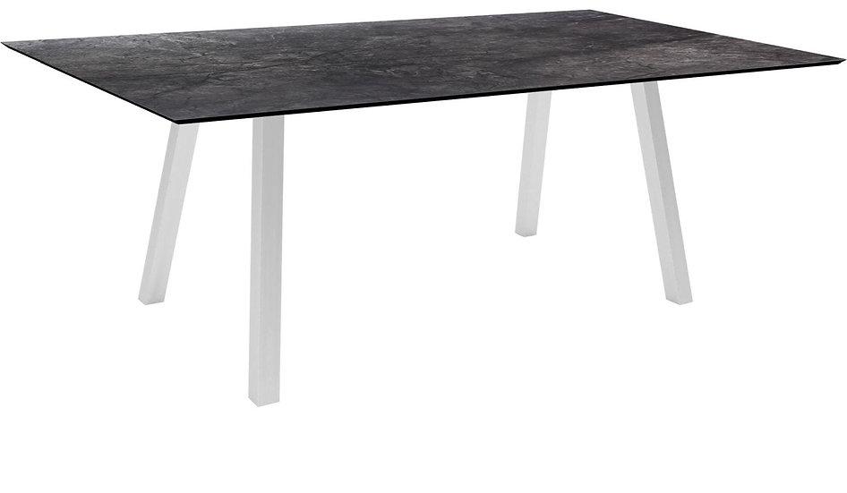 Stern  Tisch 180x100cm Vierkantrohr Edelstahl  Dark Marble
