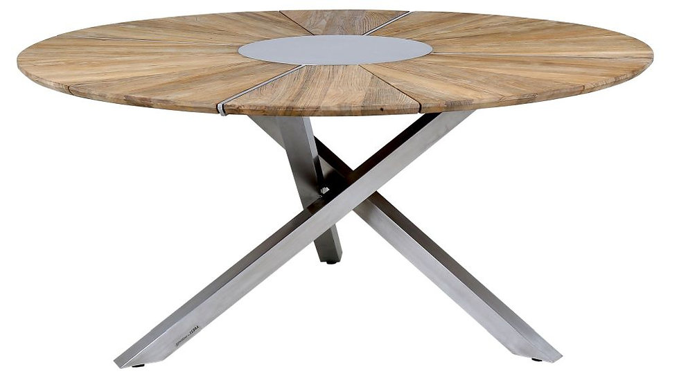 Zebra  ORYX  Edelstahl-Recy-Teak  Tisch  rund 160