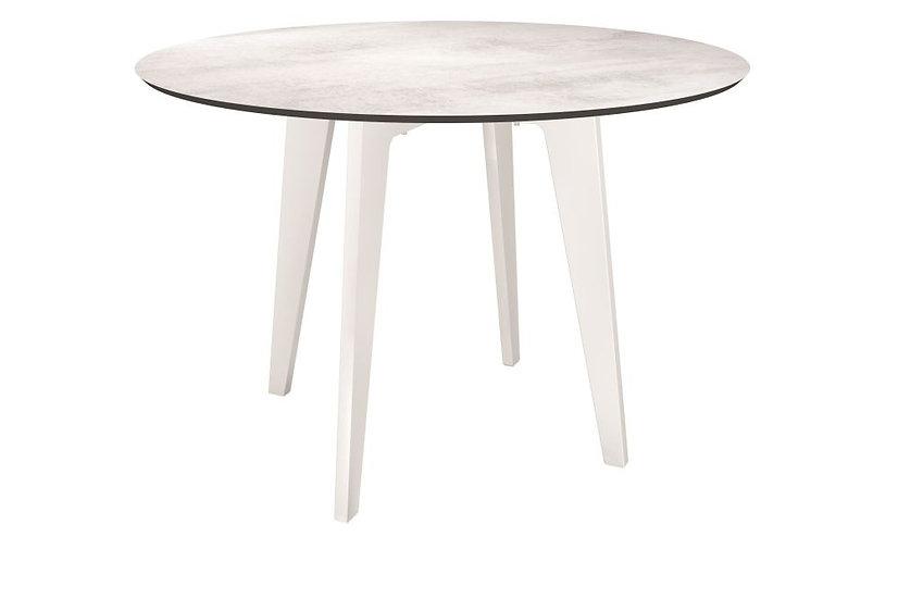 STERN  Tisch Ø 110 cm Alu  weiß m.TP   Zement hell