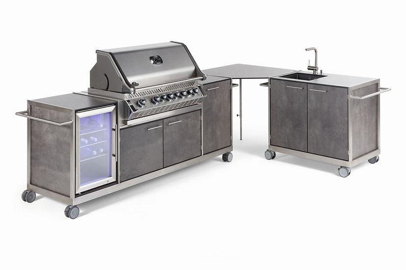 Niehoff Outdoorküche Pro mit Napoleon Einbau-Grill 665