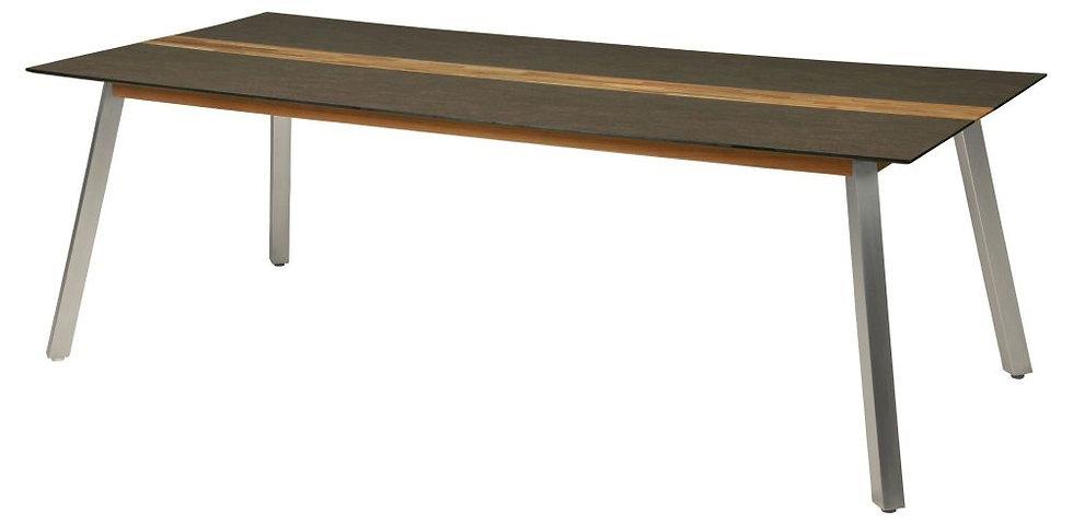 Zebra  LINAX  Edelstahl-HPL-Teak  Tisch  220x100cm