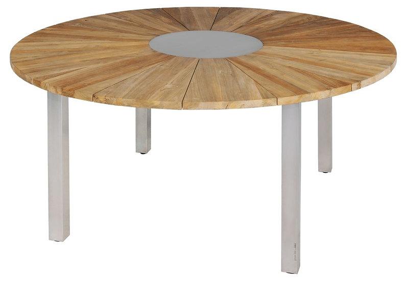 Zebra  ONYX  Edelstahl-Recy-Teak  Tisch  rund  160