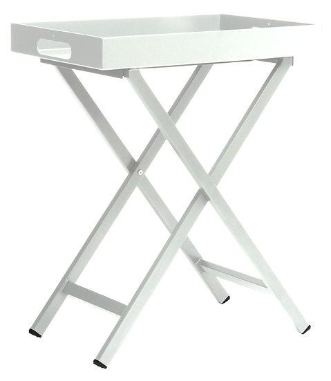 Stern  Tabletttisch Alu weiß mit Tablett ca. 60x40x7 cm