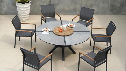 Zebra HELIX Dining Tisch rund 160cm mit ALEX Sessel