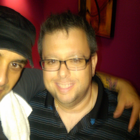 Damon (L) After show with Andrew Goodfriend. Pres of TKO Booking Nyc