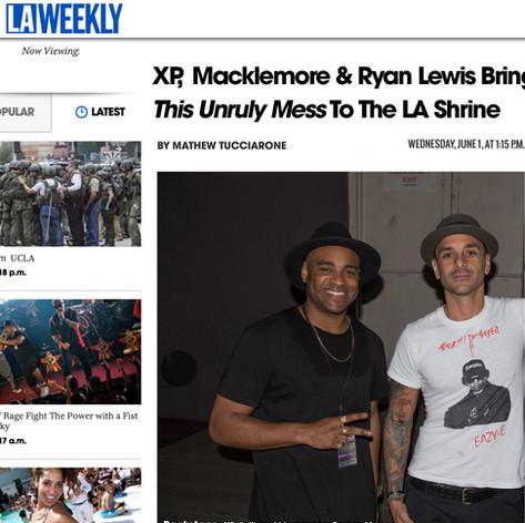 Damon & XP. After Los Angeles Shrine Auditorium tour stop. LA Weekly Feature