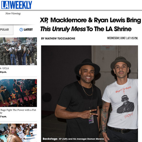 Damon & XP. After Los Angeles Shrine Auditorium tour stop. LA Weekly Feature