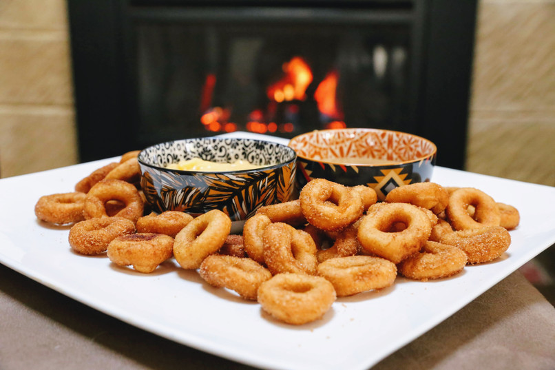 Wedding platter of donuts with sauces