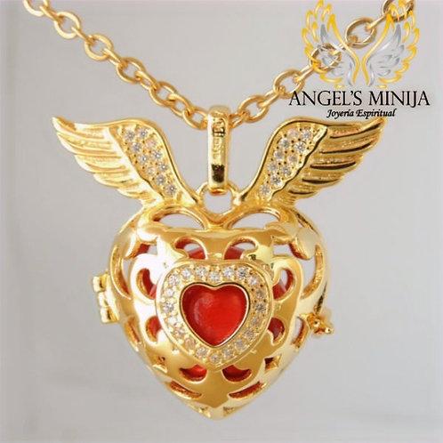 Llamador de Ángeles Corazón de Arcángel dorado