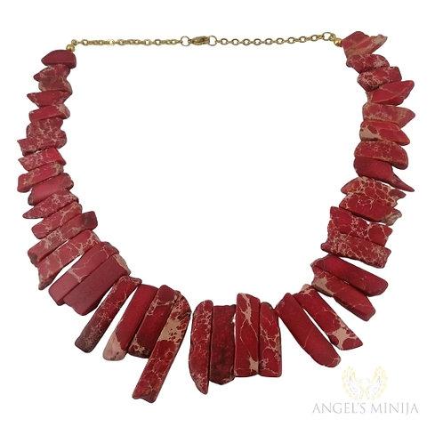 Collar Cuarzo Jaspe Rojo Picado