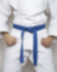 standing fighter blue belt martial arts