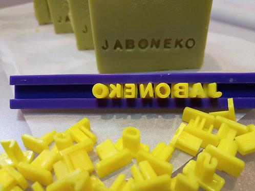 Sello móvil letras y números para jabón