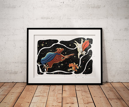 Meow-terspace A4 Print