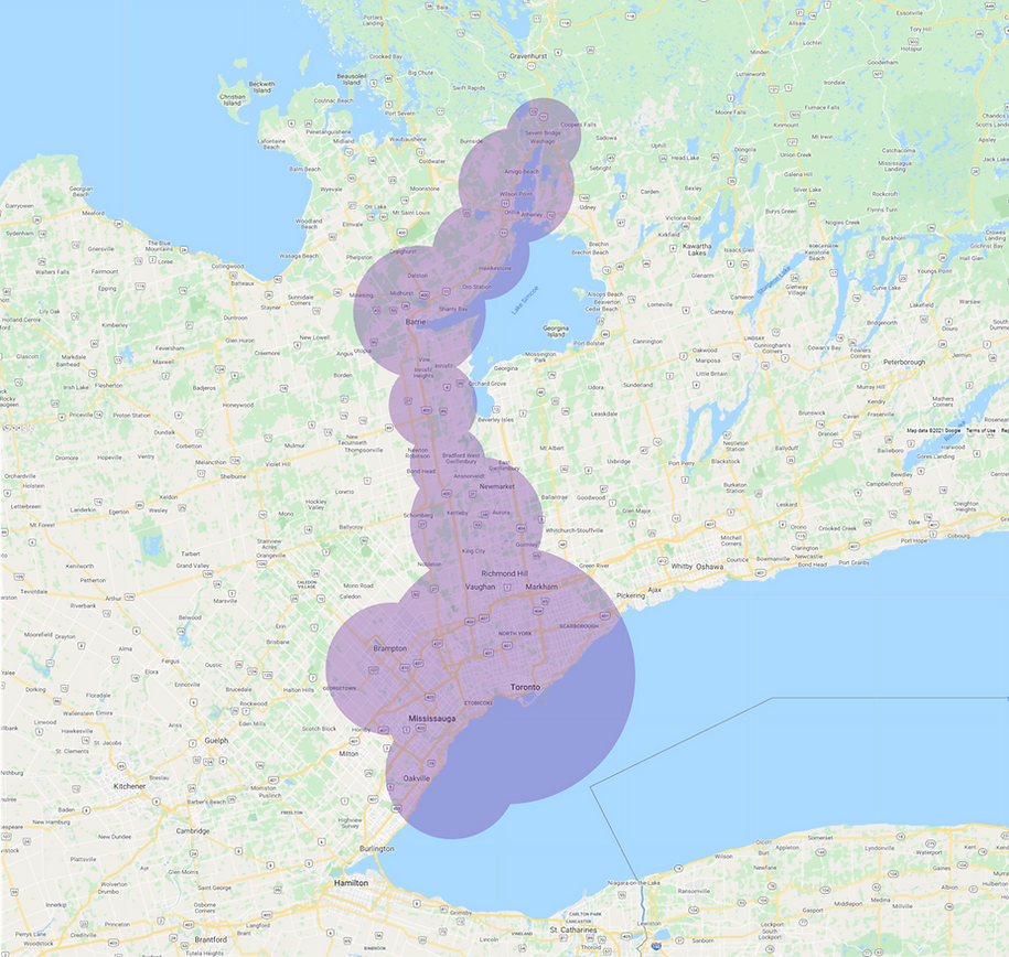 Delivery Zone Map Expanded May 2021 GTA