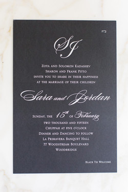 Black and White with initials invite