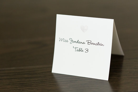 Shaded heart place card