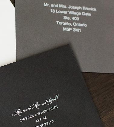 White text, coloured envelope