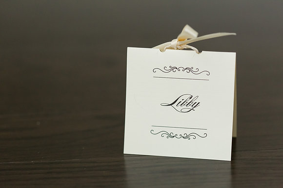 Cream and gold ribbon place card