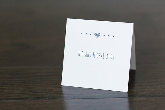 Heart white place card
