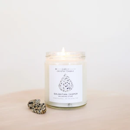 Dalmatian Jasper Crystal Candle - Balancing
