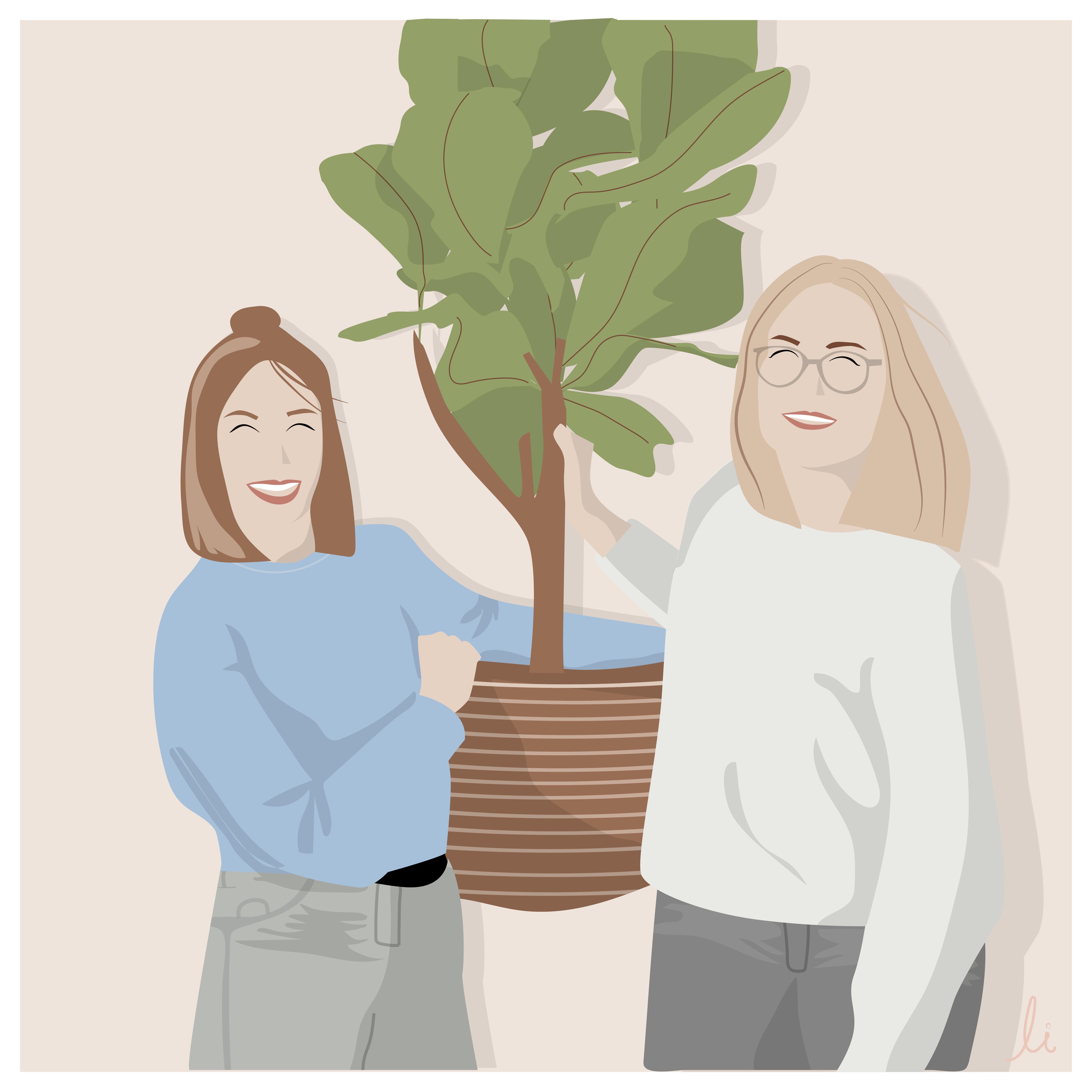 Lachende Pflanzencafé Besitzerinnen