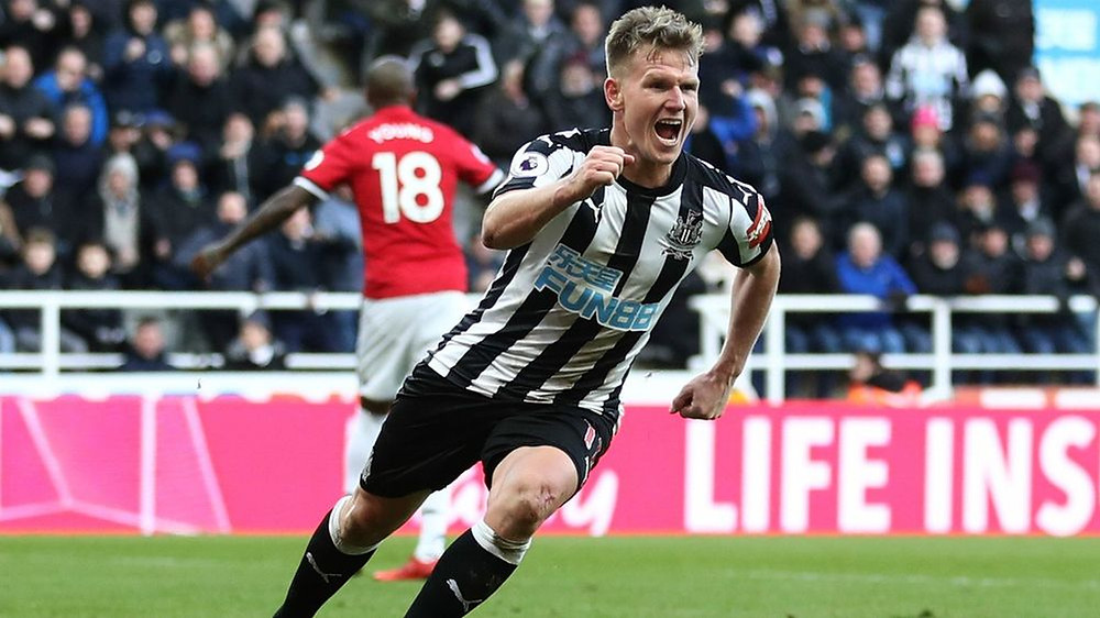 Matt Ritchie celebrates scoring the only goal of the the game against Man United in February. A game where Newcastle's fortunes seemed to go in their favour from then on. Picture courtesy of the Daily Mirror.