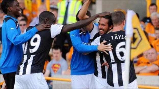 Gutierrez celebrating his goal to double the lead in Newcastle's last win at Wolves. Picture courtesy of BBC.